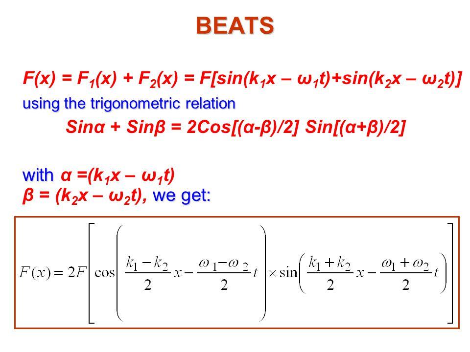Sinα + Sinβ = 2Cos[(α-β)/2] Sin[(α+β)/2]